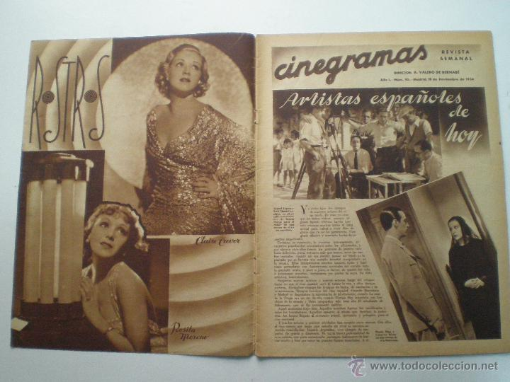 Cine: CINEGRAMAS AÑO 1 Nº 10 MADRID 18 NOV 1934 // REVISTA CINE CAROLE LOMBARD GARY COOPER ART DECO MAG - Foto 2 - 53448210