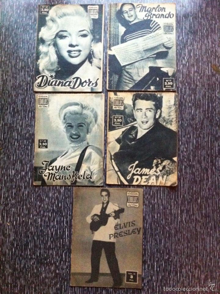 5 ANTIGUAS REVISTAS BIOGRAFIA CINE 1958, ELVIS PRESLEY, MARLON BRANDO, JAMES DEAN +2 ROCKABILLY (Cine - Revistas - Colección ídolos del cine)