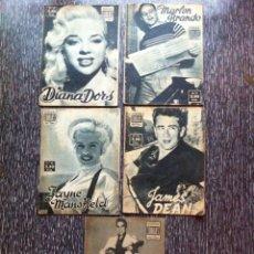 Cine: 5 ANTIGUAS REVISTAS BIOGRAFIA CINE 1958, ELVIS PRESLEY, MARLON BRANDO, JAMES DEAN +2 ROCKABILLY. Lote 53549081