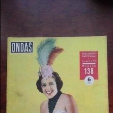 Cine: REVISTA ONDAS N° 136 AÑO 1958. Lote 54288221
