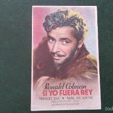 Cine: PROGRAMA FOLLETO DE MANO DE RONAL COLMAN SI YO FUERA REY ( 1944). Lote 55798694