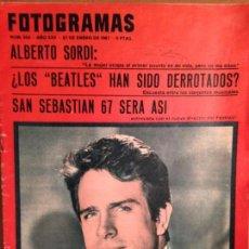 Cine: REVISTA FOTOGRAMAS - 7 DE ENERO DE 1967 - PORTADA ALBERTO SORDI - BEATLES - FESTIVAL SAN SEBASTIAN. Lote 56285890