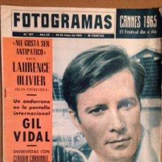 Cine: REVISTA FOTOGRAMAS - 29 DE MAYO 1965 - PORTADA GIL VIDAL - ENTREVISTA LAURENCE OLIVER. Lote 56286007