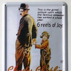 Cine: THE KID - CHARLES CHAPLIN - CARTEL DE CHAPA. Lote 56634071