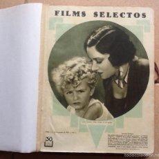 Cine: TOMO CON 34 EJEMPLARES FILMS SELECTOS, NºS 3 AL 36 AÑOS 1930 Y 1931. Lote 57057027