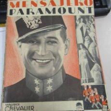 Cine: MENSAJERO PARAMOUNT. AGOSTO 1931. Nº 2. MAURICE CHEVALIER. Lote 58375934