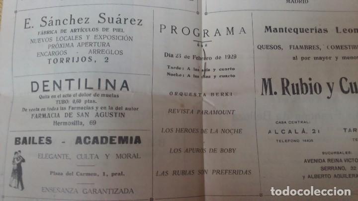 Cine: Raro revista programa de cinema goya con publicidad en el interior 23 de febrero de 1929miren fotos - Foto 2 - 61923576