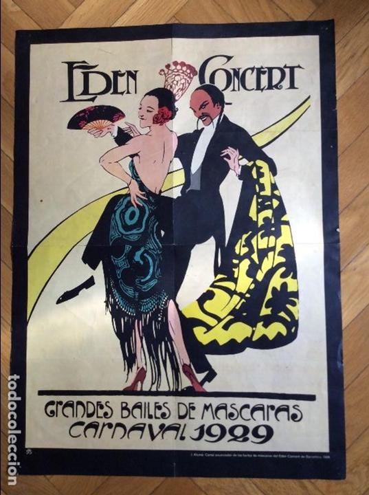 CARTEL EDEM CONCERT. GRANDES BAILES DE MÁSCARAS CARNAVAL BARCELONA 1929 (Cine - Reproducciones de carteles, folletos...)