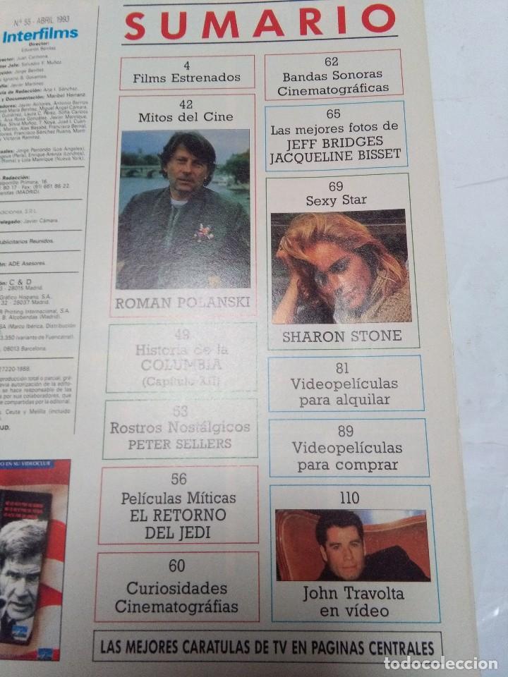 Cine: INTERFILMS. Nº 55. ABRIL 1993. DUSTIN HOFFMAN, JOHN TRAVOLTA. POLANSKI, SHARON STONE... - Foto 2 - 63882599