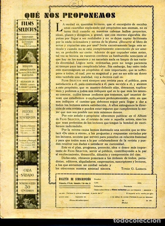 Cine: FILMS SELECTOS revista de cine del nº 1 al 300, año 1930 a 1936 falta el nº 294 ... rr - Foto 3 - 67222105