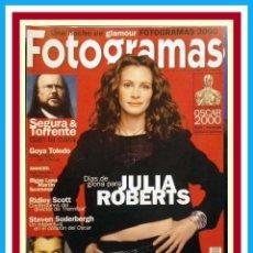 Cine: REVISTA FOTOGRAMAS NUM. 1890, ABRIL 2001. JULIA ROBERTS, JUDE LAW, SEGURA & TORRENTE, GOYA TOLEDO. Lote 69008465