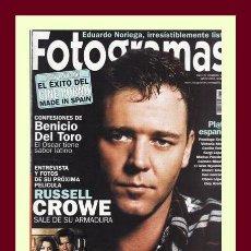 Cine: REVISTA FOTOGRAMAS NUM. 1891, MAYO 2001. RUSSELL CROWE, BENICIO DEL TORO, EDUARDO NORIEGA, ETC.. Lote 69008713