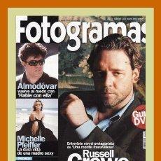 Cine: REVISTA FOTOGRAMAS NUM. 1901, MARZO 2002. RUSSELL CROWE, MICHELLE PFEIFFER, PEDRO ALMODOVAR, ETC.. Lote 69010101
