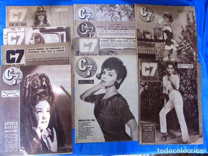 LOTE DE 10 REVISTAS C7 CINE EN 7 DÍAS, 1962 - 1968. (Cine - Revistas - Cine en 7 dias)