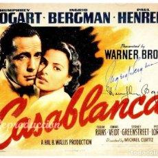Cine: POSTER CASABLANCA, AUTOGRAFOS DE HUMPHREY BOGART E INGRID BERGMAN, BONITA REPRODUCCION. Lote 95821343