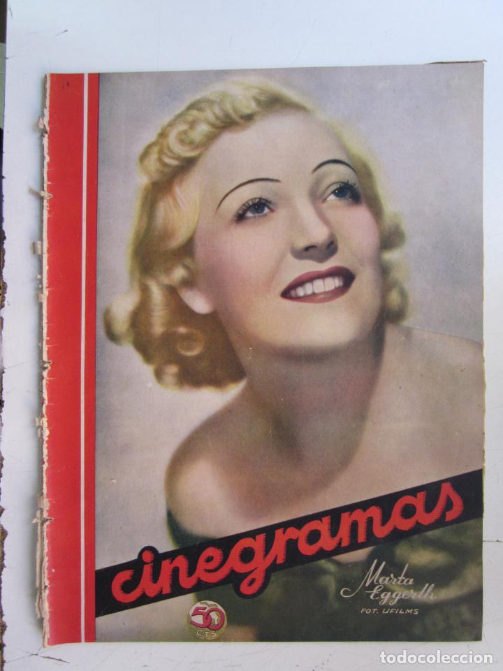 REVISTA CINEGRAMAS NUMERO 80. AÑO 1936. MARTA EGGERTH (Cine - Revistas - Cinegramas)