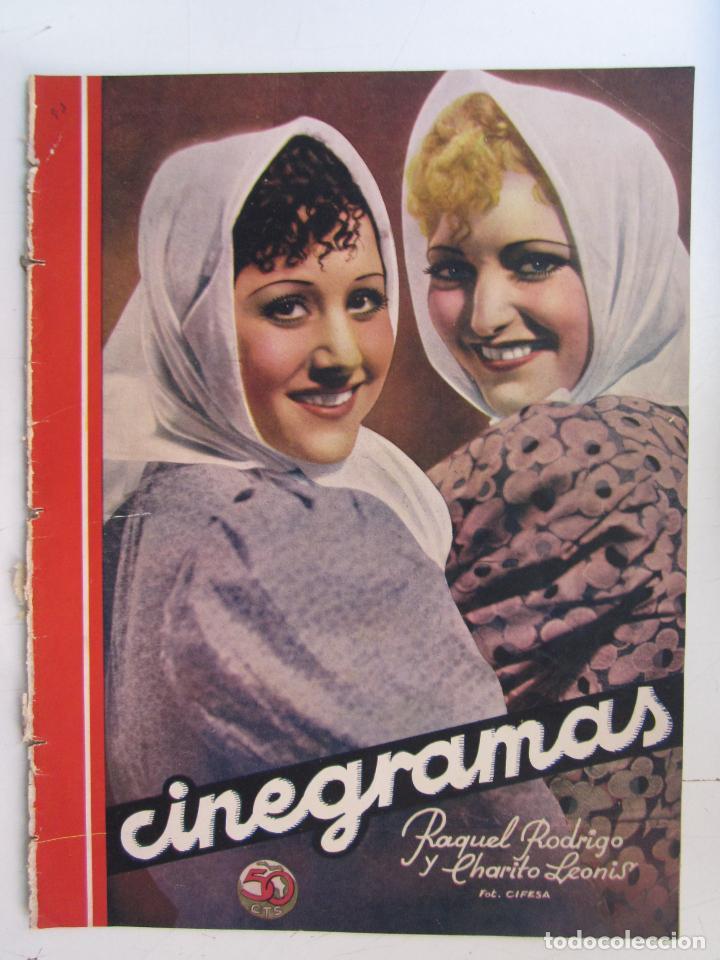 REVISTA CINEGRAMAS NUMERO 93. AÑO 1936. RAQUEL RODRIGO Y CHARITO LEONIS (Cine - Revistas - Cinegramas)