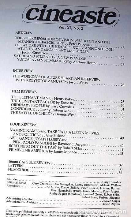 Cine: Napoleón de Abel Gance - cine yugoslavo – entrevista a Krzysztof Zanussi (Cineaste, Nueva York 1981) - Foto 2 - 75255891