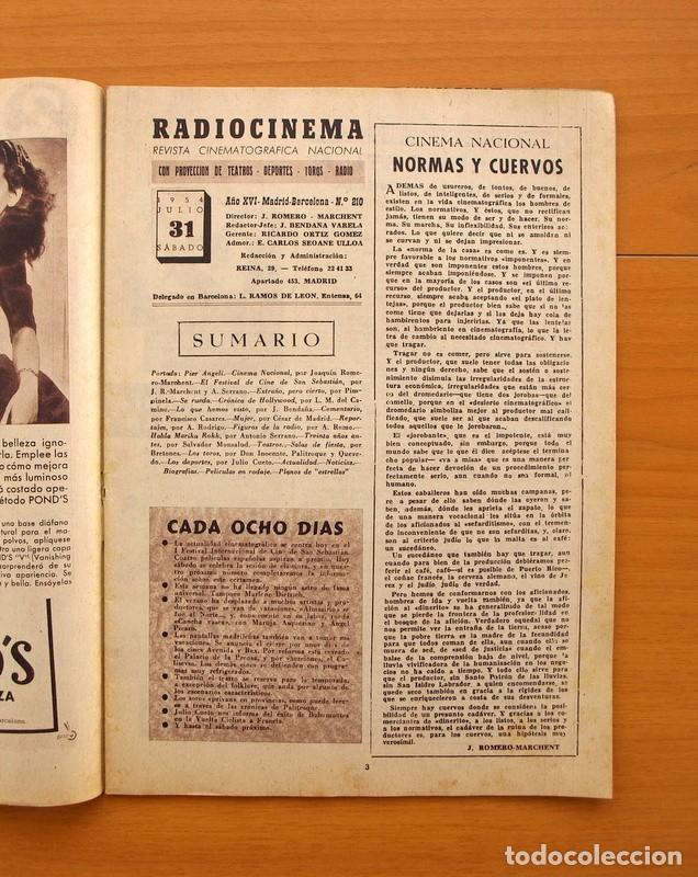 Cine: Radiocinema - Nº 210, 31 de Julio 1954 - Portada Pier Angeli, contraportada Gary Grant - Foto 2 - 75276547