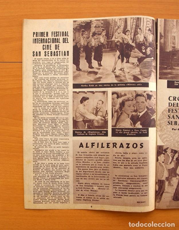 Cine: Radiocinema - Nº 210, 31 de Julio 1954 - Portada Pier Angeli, contraportada Gary Grant - Foto 3 - 75276547