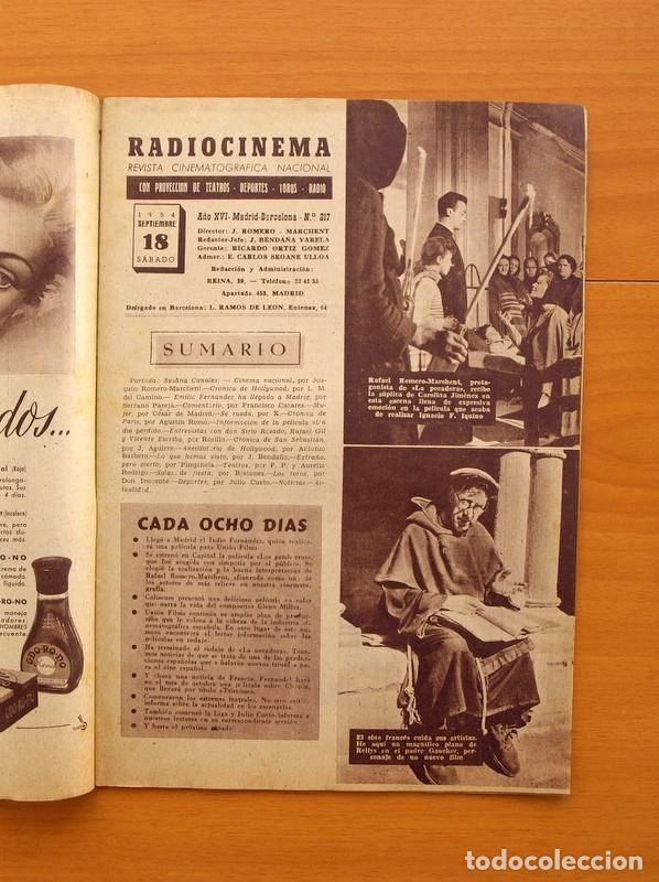 Cine: Radiocinema - Nº 217, 18 de Septiembre 1954 - Portada Susana Canales, contraportada Robert Taylor - Foto 2 - 75276879