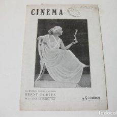 Cine: REVISTA DE CINE CINEMA. AÑO III NÚMERO 5 Y 6 DE SEPTIEMBRE DE 1920. Lote 76936921