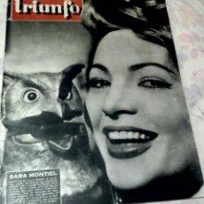Cine: REVISTA TRIUNFO N° 592 °19 DE JUNIO DE 1957 ° ¡¡PORTADA SARA MONTIEL !!. Lote 81197496