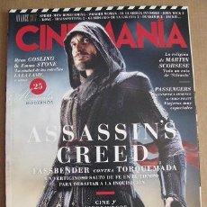 Cine: REVISTA CINEMANIA Nº256 (EN PORTADA:ASSASSIN'S CREED) ¡¡LEER DESCRIPCION!!. Lote 84431556