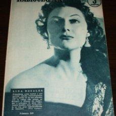 Cine: RADIOCINEMA Nº 249 - 30-IV-1955 - PORTADA: LINA ROSALES - CONTRA: JEAN MARAIS. Lote 84684536
