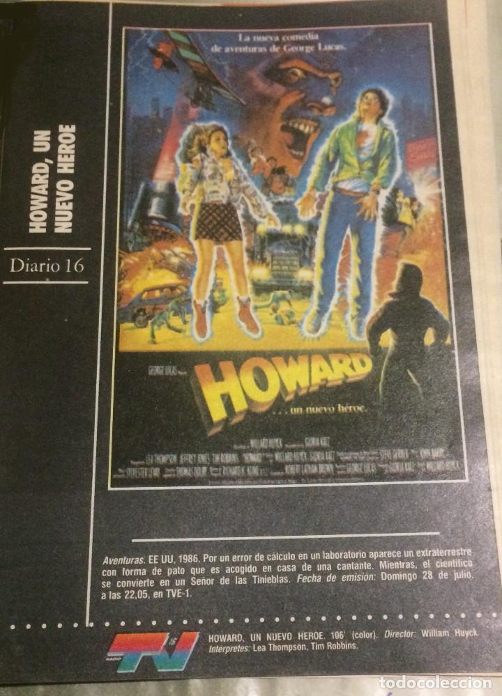 'HOWARD - UN NUEVO HÉROE', CON LEA THOMPSON. FICHA COLECCIONABLE DE REVISTA DIARIO 16. (Cine - Reproducciones de carteles, folletos...)