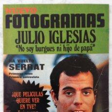 Cine: REVISTA FOTOGRAMAS - Nº 1115 - 1970 - JULIO IGLESIAS, JOAN MANUEL SERRAT, EMMA COHEN. MIKE KENNEDY. Lote 86861696