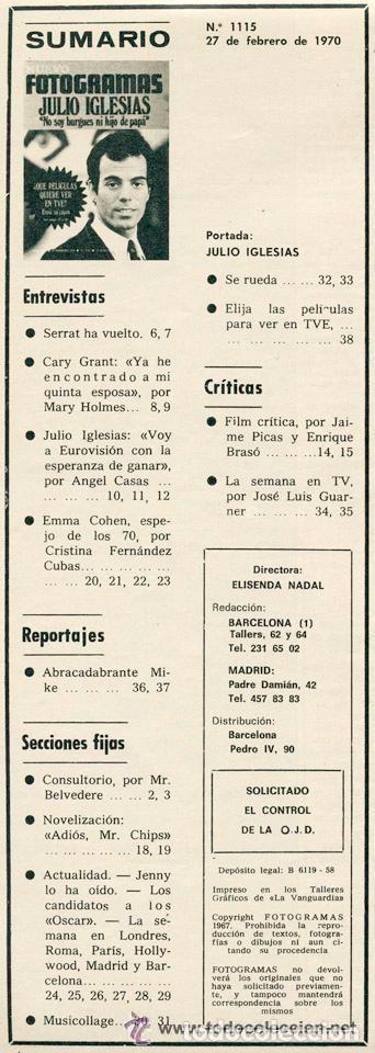 Cine: REVISTA FOTOGRAMAS - Nº 1115 - 1970 - JULIO IGLESIAS, JOAN MANUEL SERRAT, EMMA COHEN. MIKE KENNEDY - Foto 2 - 86861696