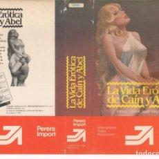 Cine: CARATULA ORIGINAL TAMAÑO A4 - LA VIDA EROTICA DE CAIN Y ABEL. Lote 87353532