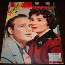 Cine: REVISTA CINÉMONDE - 19 ENERO 1956 - Nº 1119 - EN PORTADA: MARLON BRANDO/JEAN SIMMONS - EN FRANCÉS. Lote 94860131