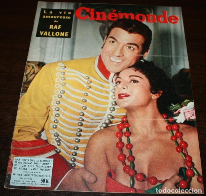 REVISTA CINÉMONDE - 27 DICIEMBRE 1956 - Nº 1168 - EN PORTADA: LOLA FLORES / LUIS MARIANO, EN FRANCÉS (Cine - Revistas - Otros)