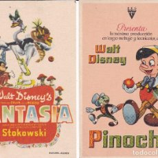 Cine: PINOCHO Y FANTASIA WALT DISNEY'S DIBUJOS. Lote 95106543