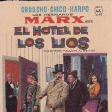 Cine: GROUCHO CHICO HARPO LOS HERMANOS MARK EL HOTEL DE LOS LIOS . Lote 95106627