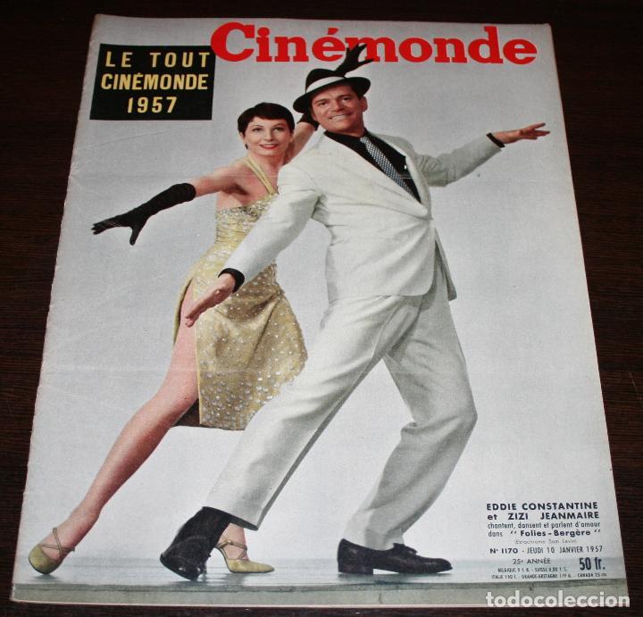 REVISTA CINÉMONDE - 10 ENERO 1957 - Nº 1170 - EN PORTADA: EDDIE CONSTANTINE, ZIZI... - EN FRANCÉS (Cine - Revistas - Otros)