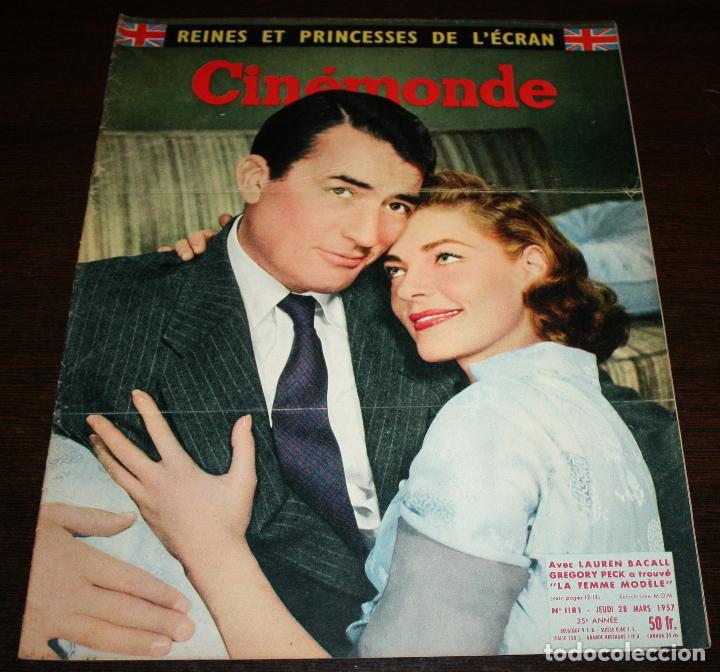 REVISTA CINÉMONDE - 28 MARZO 1957 - Nº 1181 - EN PORTADA: LAUREN BACALL, GREGORY PECK - EN FRANCÉS (Cine - Revistas - Otros)