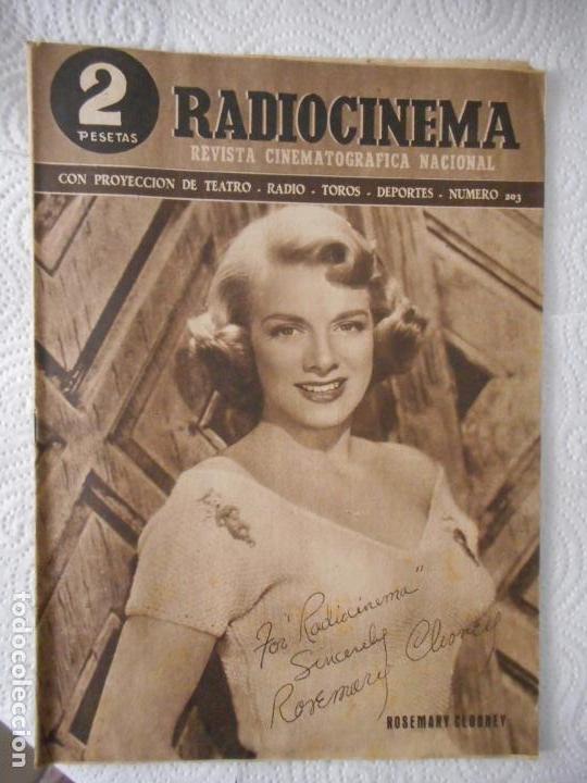 RADIOCINEMA Nº 203 - 12-6-1954-. PORTADA ROSEMARY CLOONEY. CONTRAPORTADA ROBERT MITCHUM (Cine - Revistas - Radiocinema)