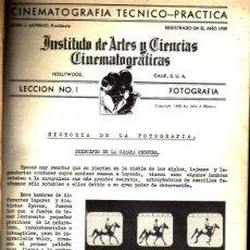 Cine: INSTITUTO DE ARTES Y CIENCIAS CINEMATOGRÁFÍCAS. CINEMATROGRAFÍA TÉCNICO-PRÁCTICA. CARPETA CON 26 LEC. Lote 96393051