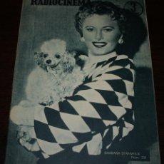 Cine: RADIOCINEMA Nº 291 - 18/02/1956 - EN PORTADA/CONTRAPORTADA: BARBARA STANWICK/IRENE PAPAS. Lote 154282765