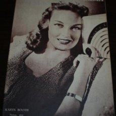 Cine: RADIOCINEMA Nº 211 - 7/08/1954 - EN PORTADA/CONTRAPORTADA: KARIN BOOTH/HUME CRONYN. Lote 99898927
