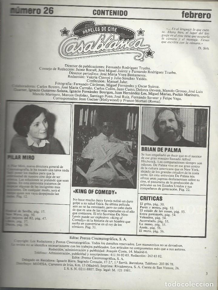 Cine: CASABLANCA, Nº 26, FEBRERO 1983. BRIAN DE PALMA, FESTIVAL SEVILLA, NUEVA OLA USA - Foto 2 - 99931127