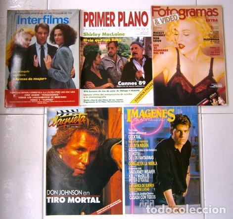 LOTE DE 5 REVISTAS VARIADAS DE CINE DEL AÑO 1989 (Cine - Revistas - Otros)