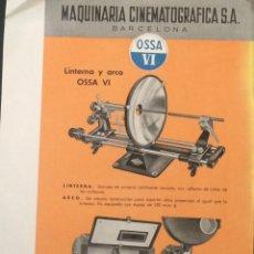Cine: FOLLETO A4 LINTERNA OSSA VI PARA PROYECTOR DE CINE DE 35MM. Lote 123275438
