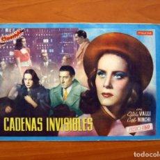 Cine: CADENAS INVISIBLES, Nº 15 - ALIDA VALLI, CARLO NINCHI - CINEVIDA - ED. HISPANO AMERICANA . Lote 104269631