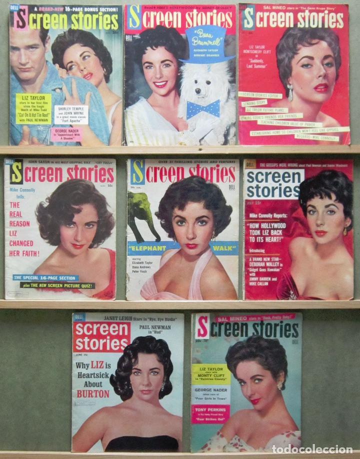 YD01 ELIZABETH TAYLOR COLECCION DE 8 REVISTAS AMERICANAS SCREEN STORIES 50'S - 60'S (Cine - Revistas - Otros)