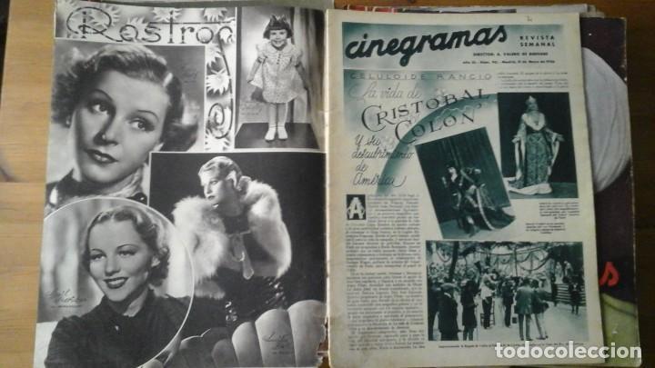Cine: Lote de 63 revistas CINEGRAMAS n°11 al 93. Numeros sueltos. Año 1934-1936 - Foto 3 - 109239335