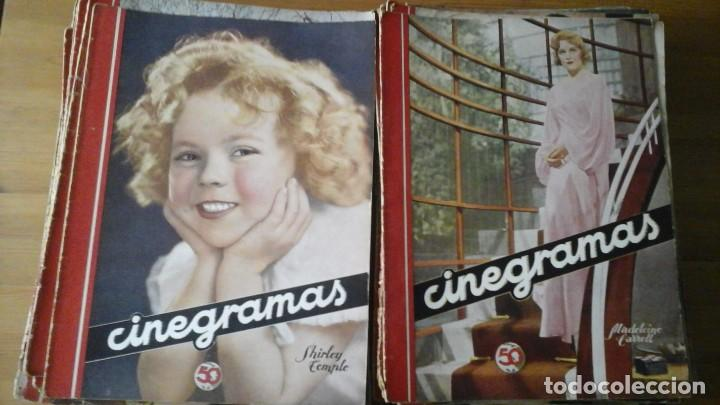LOTE DE 63 REVISTAS CINEGRAMAS N°11 AL 93. NUMEROS SUELTOS. AÑO 1934-1936 (Cine - Revistas - Cinegramas)